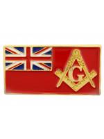 Merchant Navy Flag and Masonic Square Compass and G Symbol Freemason Lapel Pin