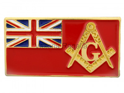 Merchant Navy Flag and Masonic Square Compass and G Symbol Freemason Lapel Pin