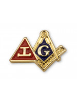 Combined Triple Tau and Square & Compasses with G Masonic Freemasons Lapel Pin