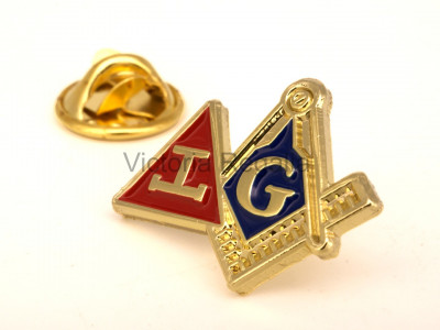 Masonic Craft and Royal Arch Square and Compasses and Triple Tau Combined Lapel Pin