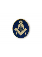 Oval Golden Square, Compass & G Masonic Freemasons Lapel Pin