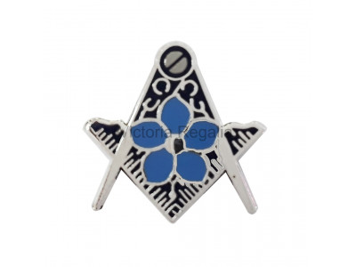 Masonic Square and Compass Silver Freemasons Lapel Pin with Forget Me Not