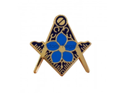 Masonic Square and Compass Gold Freemasons Lapel Pin with Forget Me Not