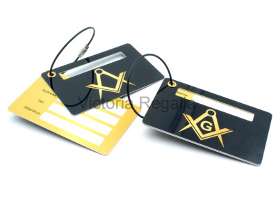 Freemasons Luggage Tag with Masonic Square, Compasses and G