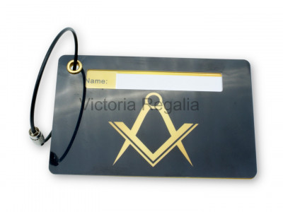Freemasons Luggage Tag with Masonic Square and Compasses