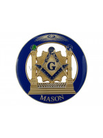 Masonic Pillars with Square and Compasses with G and Other Symbols Self Adhesive Metal Car Decal