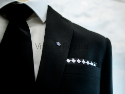 Masonic Black and White Chequered Pocket Square