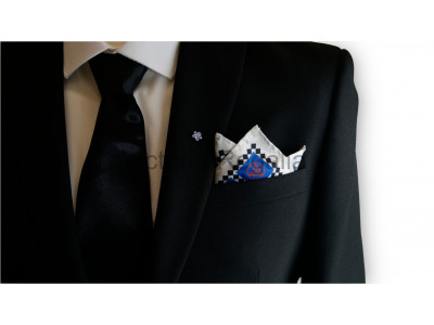 Masonic Royal Arch Chequered Pocket Square with Triple Tau Symbol