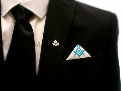 Masonic Plain White Pocket Square with Sky Blue embroidered Freemasons Square Compass and G (SC&G)