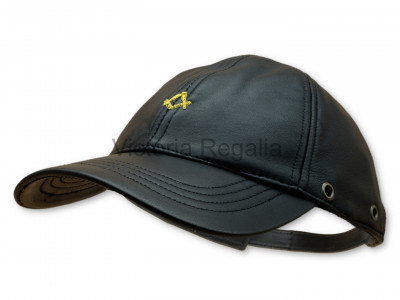 Freemasons Leather Cap with Masonic Embroidered Gold Square and Compasses