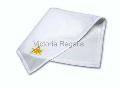 Masonic Plain White Pocket Square with Gold embroidered Freemasons Square Compass and G (SC&G)