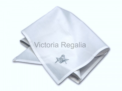 Masonic Plain White Pocket Square with Silver embroidered Freemasons Square Compasses and G (SC&G)