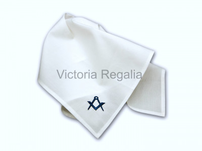 Masonic Plain White Pocket Square with Navy Blue embroidered Freemasons Square and Compasses (S&C)
