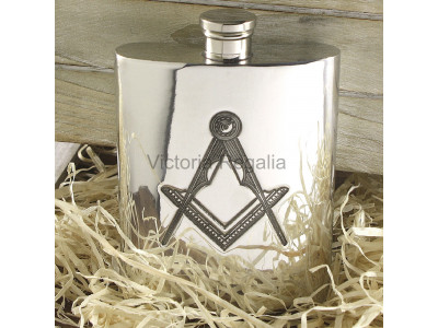 Masonic Hip Flask in Pewter  6 oz with Square Compass