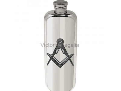 Masonic Hip Flask in Pewter Top Pocket Flask 3 oz  with Square Compass