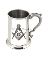 Masonic 1 pint  Tankard made in Pewter with square Compass and G engraved