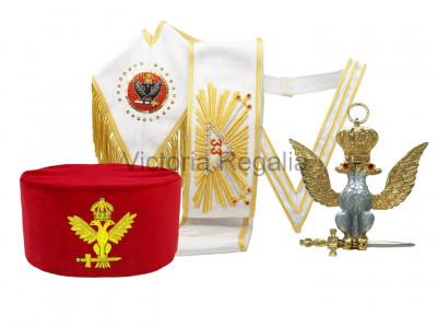 33rd Degree Full Set  - Hand Embroidered Sash, cAP, Collarette & Jewel - Scottish