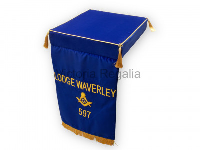 Masonic Embroidered Bible Cushion for Altar with Drape Fall