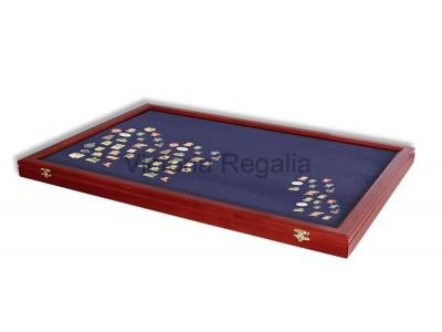 Masonic Lapel Pins Display Wooden Showcase - Large