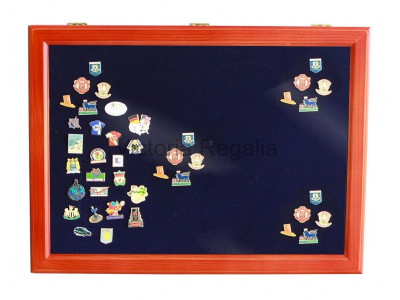 Masonic Lapel Pins Display Wooden Showcase - Large