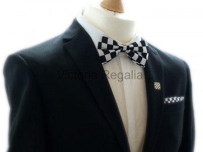 Freemasons Bow Tie with Masonic Chequered Pattern - Pre-tied