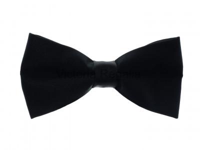 Plain Black Silk Bow Tie Pre-tied with Adjustable Length