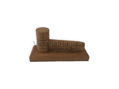 Masonic Wooden Presentation Mini Gavel with Engraved Stand
