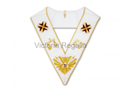 31st Degree Full Set: Collarette with Eagle Jewel, and Collar with Star Jewel - English Constitution