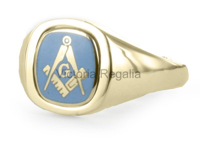 Masonic 9ct Gold Light Blue Square, Compass and G Ring with Reversible Cushion Head