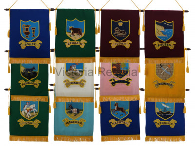The Twelve Tribes of Israel Royal Arch Chapter Banners Full Set