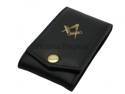 Masonic  Dual Jewel Wallet with Detachable Breast Jewel Pad with Gold blocked Masonic Square and Compass