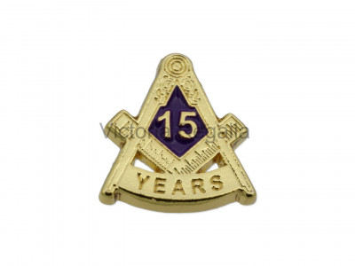 Freemasons Masonic 15 YEAR Lapel Pin