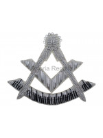 Masonic Hand-Embroidered Silver Bullion Wire Past Master Flap Badge - Scottish Constitution