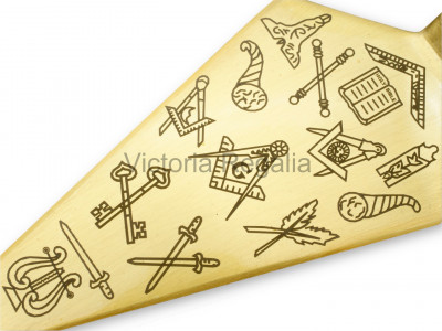 Freemasons Trowel with Square and Compasses and 'G' and Office Symbols - Brass