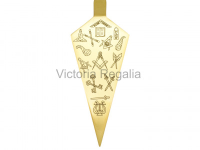 Freemasons Trowel with Square and Compasses and Masonic Office Symbols - Brass