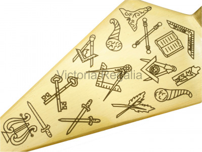 Freemasons Trowel with Square and Compass and Masonic Office Symbols - Brass