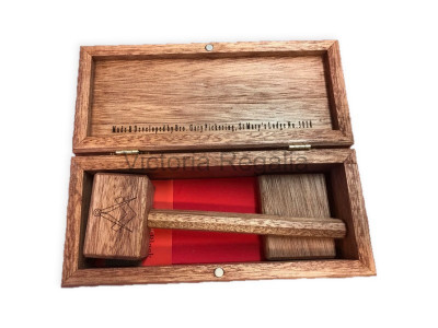 Worshipful Master's Gavel Set with Engraved Wooden Box