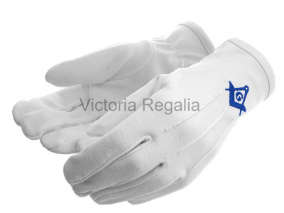Cotton Gloves with Royal Blue Square Compass and G - Masonic