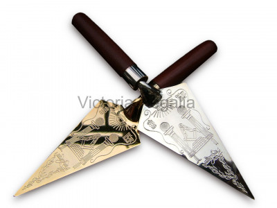 Masonic Trowel with Engraved Square and Compass and Symbols - Gold or Silver