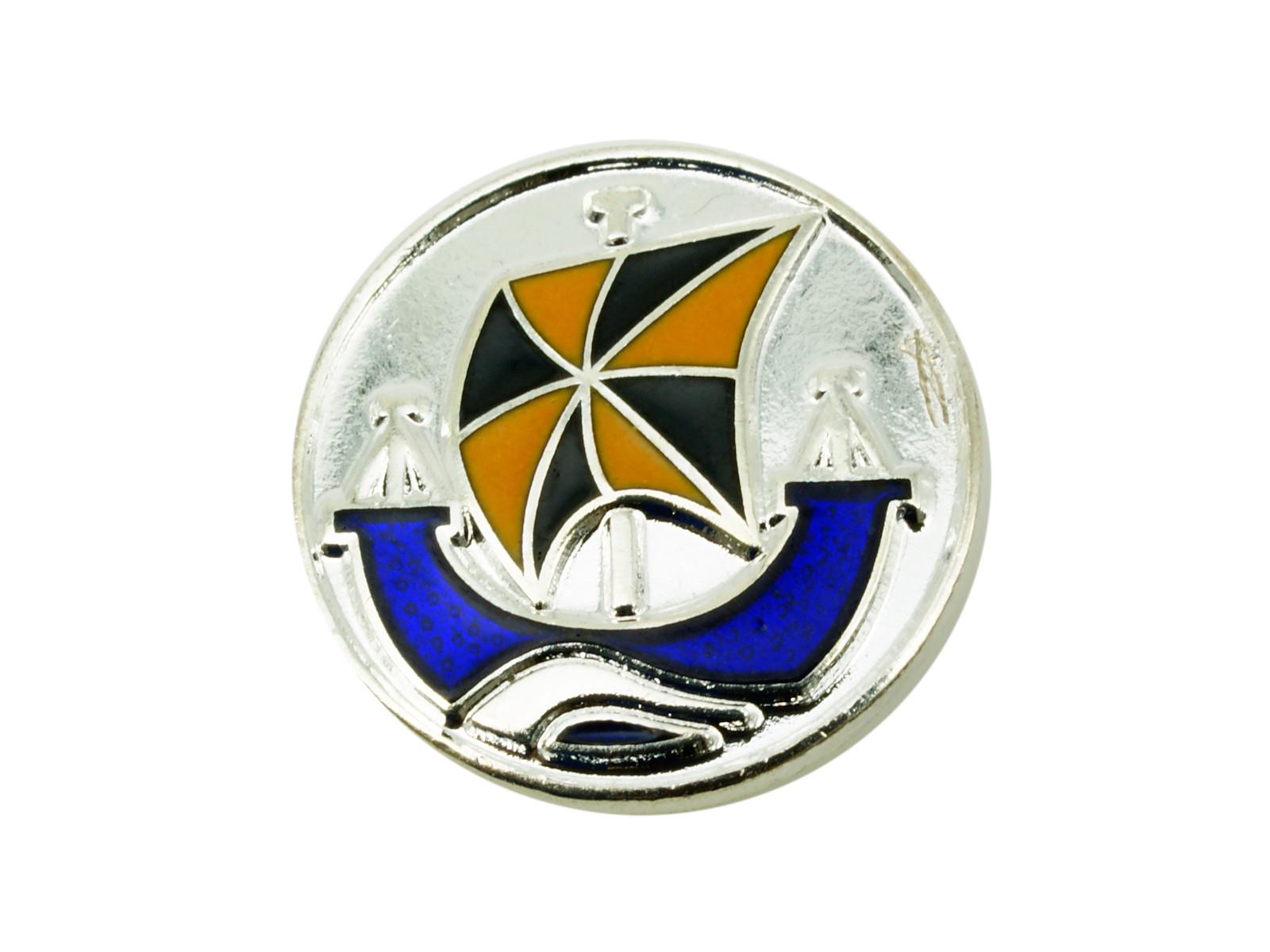 Custom Round Silver And Enamel Lapel Pin