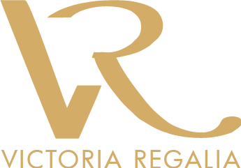 Victoria Regalia Logo - Stylized golden capital letter V and R, and company name in all caps